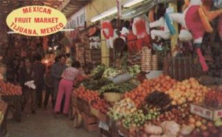 Interior Mexican Fruit Market Tijuana Mexico Postcard