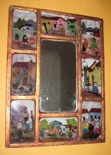 Handmade Mexican Folk Art Framed Mirror Painted Mini Pictures