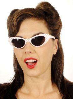 50s Polka Dot White Pink Cat Eye Pin Up Sunglasses