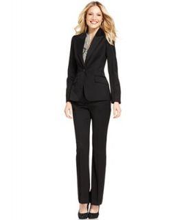 Anne Klein Suit, Single Button Jacket, Striped Shell & Straight Leg