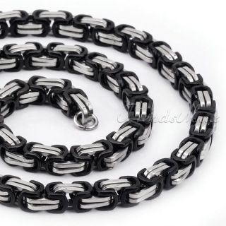 Mens Boys 316L Stainless Steel Byzantine Box Necklace Chain /10