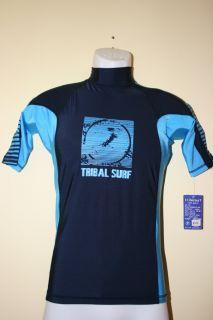 Tribalsurf Mens Rash Guard Surf Shirt SPF 50 Rgmap NVY