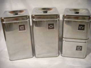 Vintage Retro Chrome Metal Black Canister Set 4