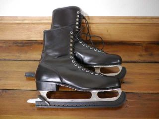 Vintage MENS Black Leather Ice Skates Mt. Royal Pro Made in Canada 10