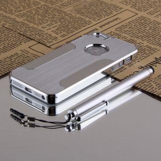 Luxury Brushed Aluminum Chrome Hard Case for iPhone 5 5g 6th Stylus