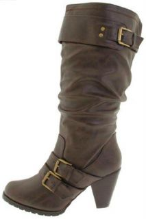 Madden Girl Hiinge Womens Buckle Mid Calf Boots 6 Brown Pari Synthetic