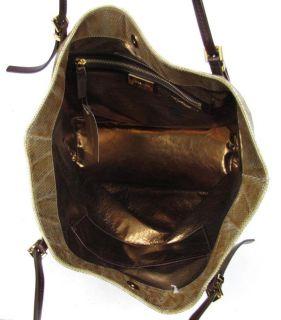 595 Michael Kors Darrington Gold Python Leather Slouchy Tote Shopper