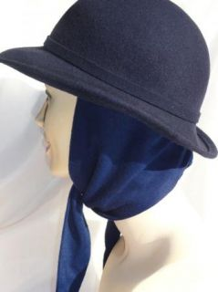 Vtg Michael Howard Blue Wool Hat Tie Ear Flaps Ruth Alan Design Scarf