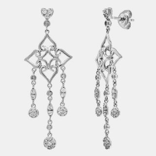 68 Ct Diamond Drop Chandelier Earrings 18K White Gold Dangling