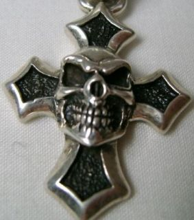 75 11 7g Vintage Sterling Silver Heavy Cross Skull Pendant Charm