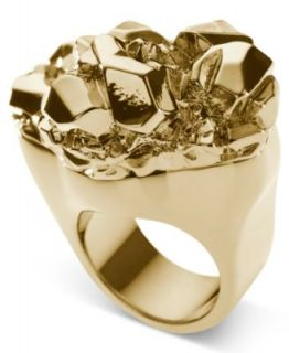 Michael Kors Ring, Gold Tone Glass Pave Concave Ring