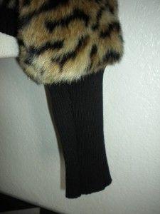 Michael Michael Kors MS Sz Large Leopard Print Faux Fur Cropped Jacket