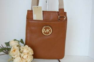 Michael Kors Fulton Leather Crossbody Swingpack Luggage Brown Handbag