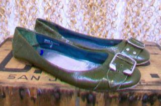 Jeffrey Campbell Womens Olive Green Buckle Toe Ballet Flapper Flats