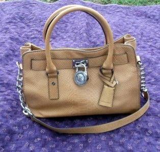 NWT MICHAEL KORS HANDBAG HAMILTON TAN PYTHON LEATHER E/W SATCHEL BAG $