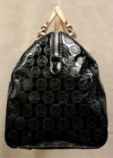 Michael Kors Grayson LG Monogram Black Patent Leather Satchel Bag MSRP