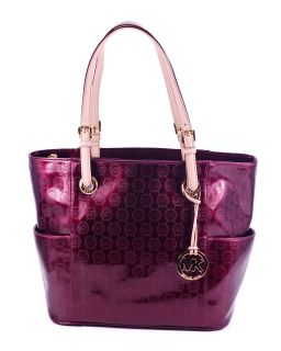 Michael Kors Jet Set Bordeaux Red Leather Signature Tote Purse Bag New
