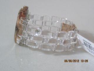 Michael Kors MK 5394 Womens Clear Plastic Band Chronograph Date MOP
