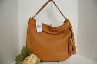 Michael Kors Bennet Large Leather Shoulder Tote Handbag Tan Brown $398