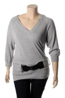 Michael Kors New Gray Ribbed 3 4 Sleeve V Neck Belted Pullover Sweater