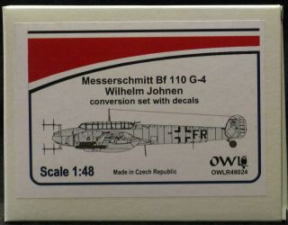 Owl Decals 1 48 Messerschmitt BF 110g 4 Ace Wilhelm Johnen Resin