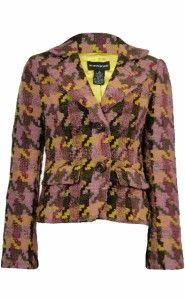 Sutton Studio Women Wool Blend Textured Houndstooth Blazer Jacket