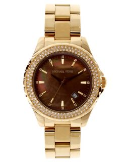 Michael Kors MK5452 Womens Brown MOP Dial Gold Tone Crystal Watch