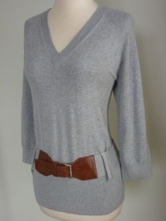 Michael Kors V Neck Sweater Top L or XL Pearl Heather Gray