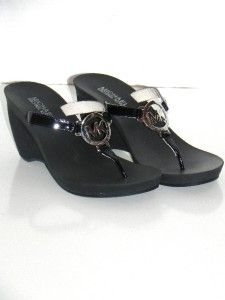 Michael Kors Warren Black Patent Leather T Strap Wedge Sandals 8 New
