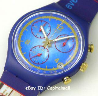 New Swatch Michael Johnson Gold Medal Tac Chrono 30M Swiss Watch Free
