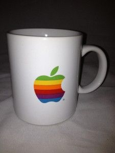 Rainbow Apple Logo Mac Macintosh Computer Micro Center Coffee Cup Mug