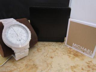 Michael Kors $495 Dylan Style White Ceramic Chronograph Watch MK8177