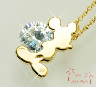 18K Gold Plated Disney Mickey Mouse Pendant Necklace Use Clear