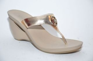 New Michael Kors Warren Gold Wedge Sculpted Heel Thong Sandal Shoes