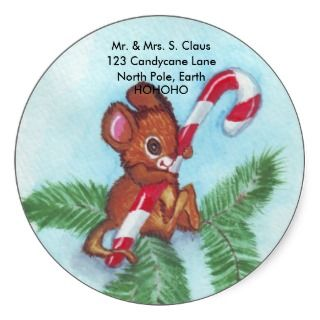 Christmas Mouse & Candy Cane Sticker