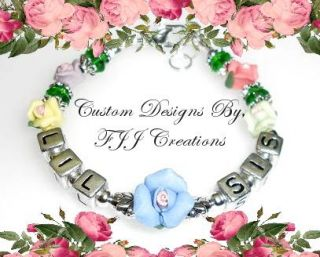 Big Middle Little Sister Personalized Flower Bracelet Jewelry Gift