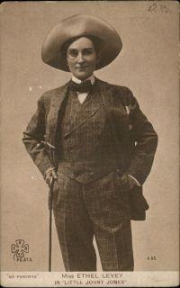 Actress Miss Ethel Levey as Jonny Jones CROSS DRESSING c1910 Postcard