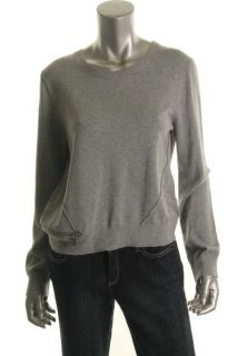 Michael Kors New Gray Ribbed Crewneck Zip Off Pullover Sweater Petites