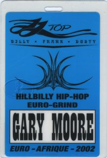 ZZ Top Gary Moore 2002 Euro Afrique Tour Laminated Backstage Pass