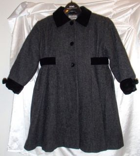 Rothschild Girls Gray Wool Dress Coat with Black Velvet Trim Buttons