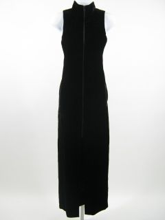 Mila Schon Black Velvet Long Zip Front Dress Sz 40