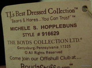 Vtg Retired Boyds Bear Hare Michele s Hopplebuns White Plush Pink