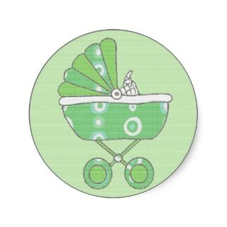 Green Baby Carriage Sticker