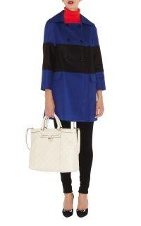 BNWT Karen Millen Graphic Colourblock Coat Blue Multi CN003 Size 14