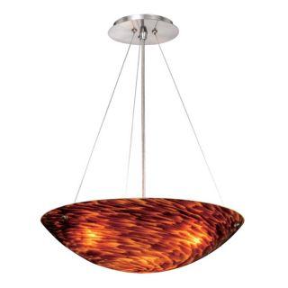 New 3 Light Pendant Lighting Fixture Satin Nickel Flaming Orange Glass