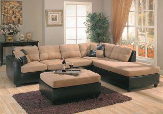 Tan Microfiber Dark Brown Leather Right Sectional Sofa