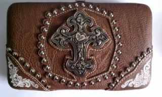 Montana West American Cowgirl Cross Collection Checkbook Wallet Brown