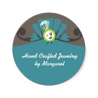 retro diamond ring girl jewelry gift tags stickers