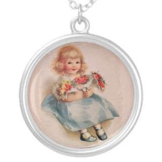 Little Girl with Flowers Necklace