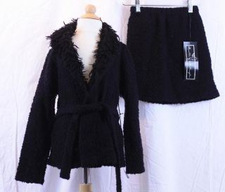 6X Rosetta Millington Black Boucle Duster Belted Wrap Sweater Mini Sk